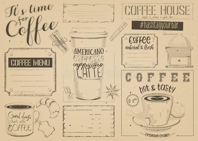 Kawowy menu Placemat ilustracja wektor