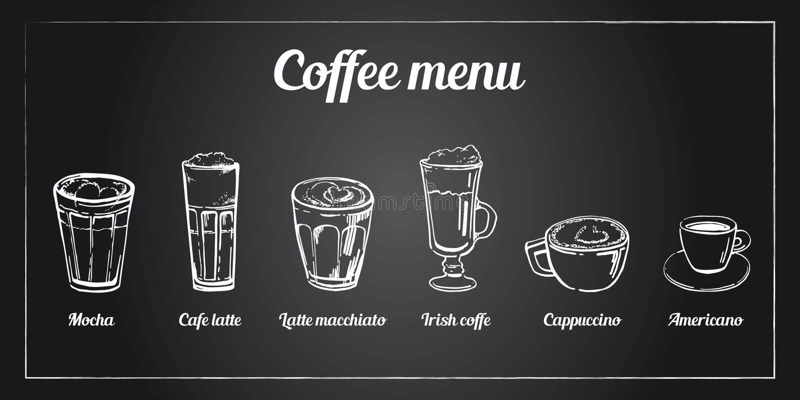 Kawowy menu set Ręka rysujący wektorowy nakreślenie różni typy kawa na blackboard tle ilustracja wektor