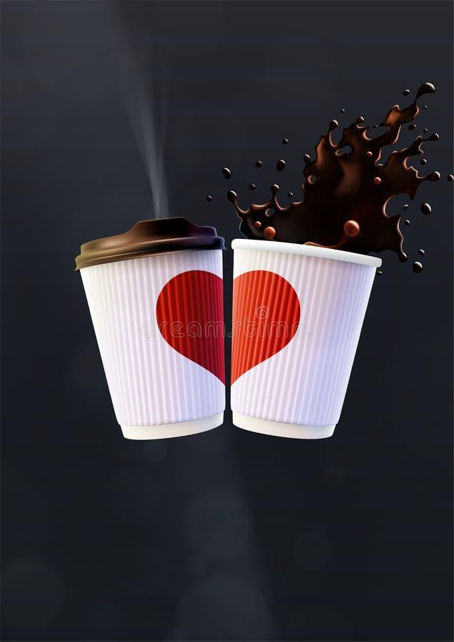 Kawowy miłość plakata szablon Białe czochr filiżanki z Czerwonym pluśnięciem na Czarnym tle i sercem royalty ilustracja