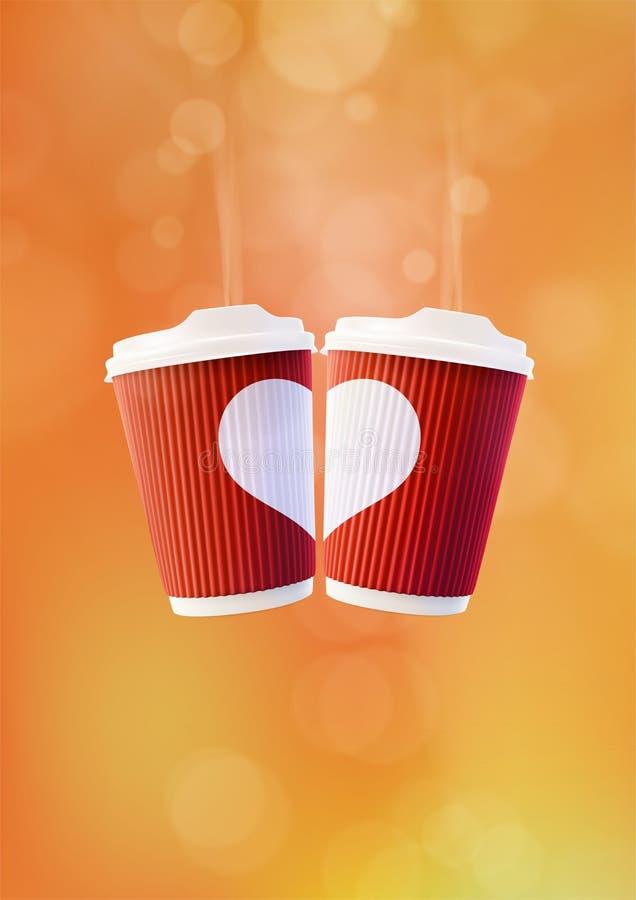 Kawowy miłość plakata szablon Dwa Czerwonej czochry filiżanki z Białym sercem na Pomarańczowym tle ilustracja wektor