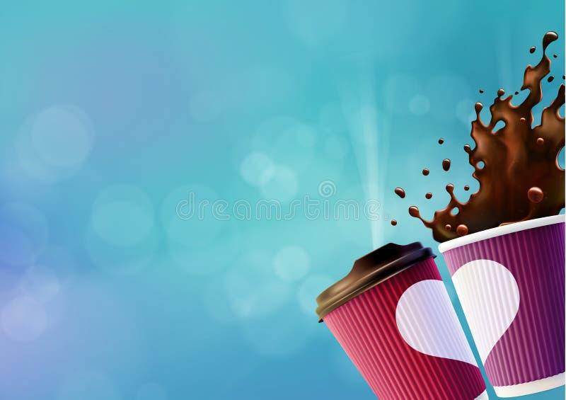 Kawowy miłość plakata szablon Menchie i Fiołkowe czochr filiżanki z Białym pluśnięciem na niebieskiego nieba tle i sercem ilustracji