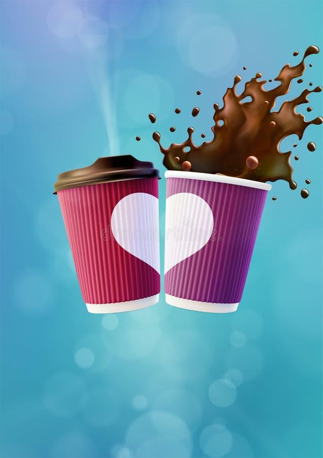 Kawowy miłość plakata szablon Menchie i Fiołkowe czochr filiżanki z Białym pluśnięciem na niebieskiego nieba tle i sercem ilustracja wektor