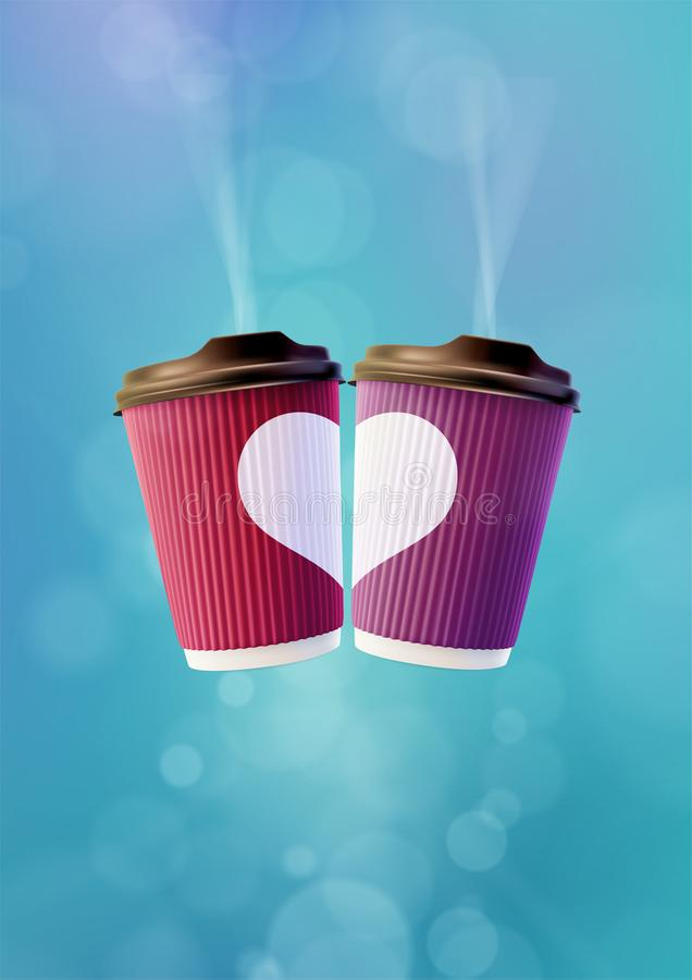 Kawowy miłość plakata szablon Menchie i Fiołkowe czochr filiżanki z Białym sercem na niebieskiego nieba tle royalty ilustracja