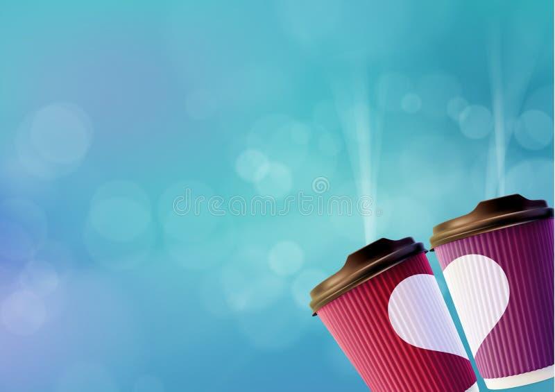 Kawowy miłość plakata szablon Menchie i Fiołkowe czochr filiżanki z Białym sercem na niebieskiego nieba tle ilustracja wektor