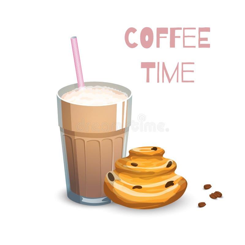 Kawowy napój i babeczka ilustracja wektor
