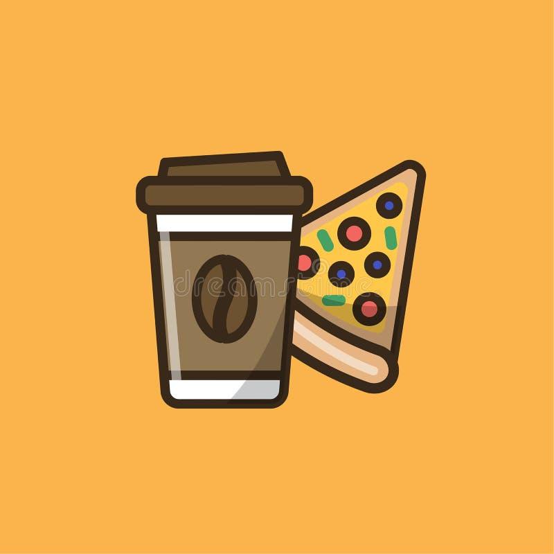 Kawowy napój i pizza ilustracja wektor
