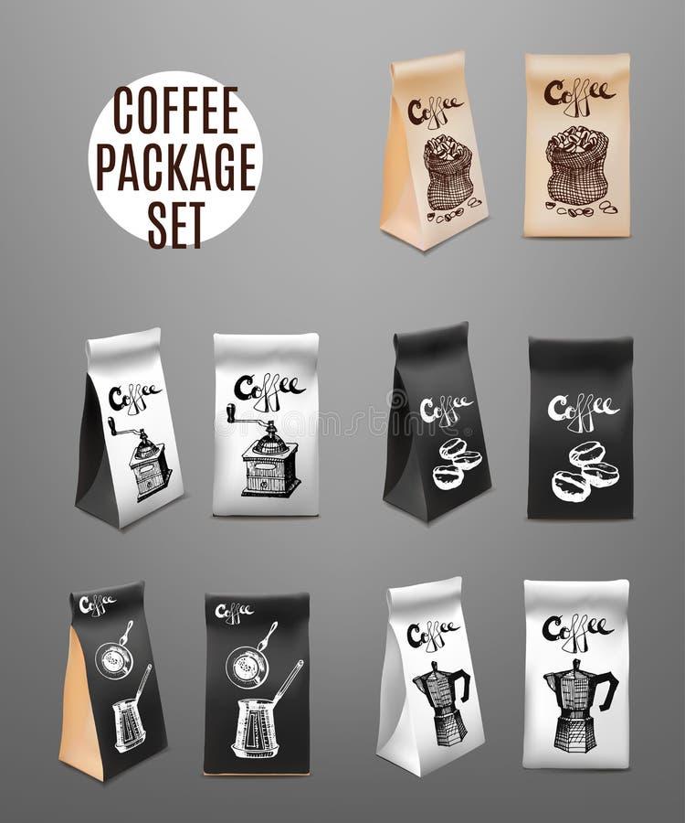 Kawowy Pakuje projekta set Szablon Dla napoju produktu zaciemnia również zwrócić corel ilustracji wektora ilustracja wektor