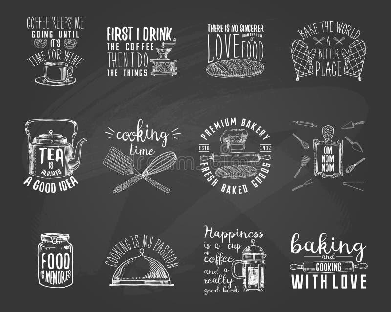 Kawowy producent lub czajnik, francuz prasa, toczna szpilka, drewniana deska Piekarnia i ciasta, brudni kuchenni naczynia, gotuje ilustracja wektor