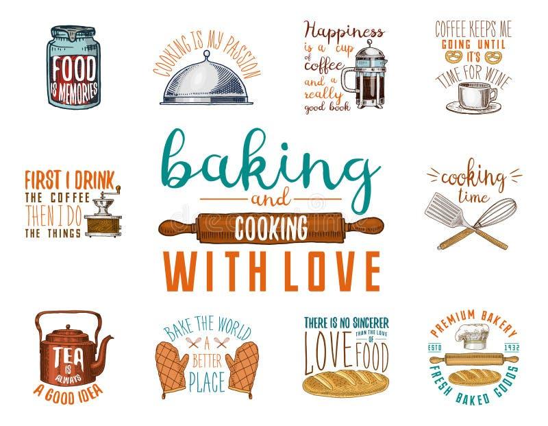 Kawowy producent lub czajnik, francuz prasa, toczna szpilka Piekarnia i ciasta, brudni kuchenni naczynia, gotuje materiał logo ilustracji