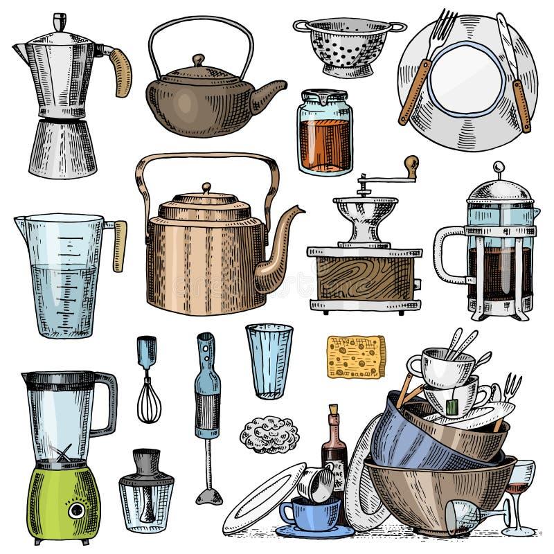 Kawowy producent, ostrzarz, francuz prasa, pomiarowa pojemność, colander lub blender, Szef kuchni i brudni kuchenni naczynia gotu ilustracja wektor