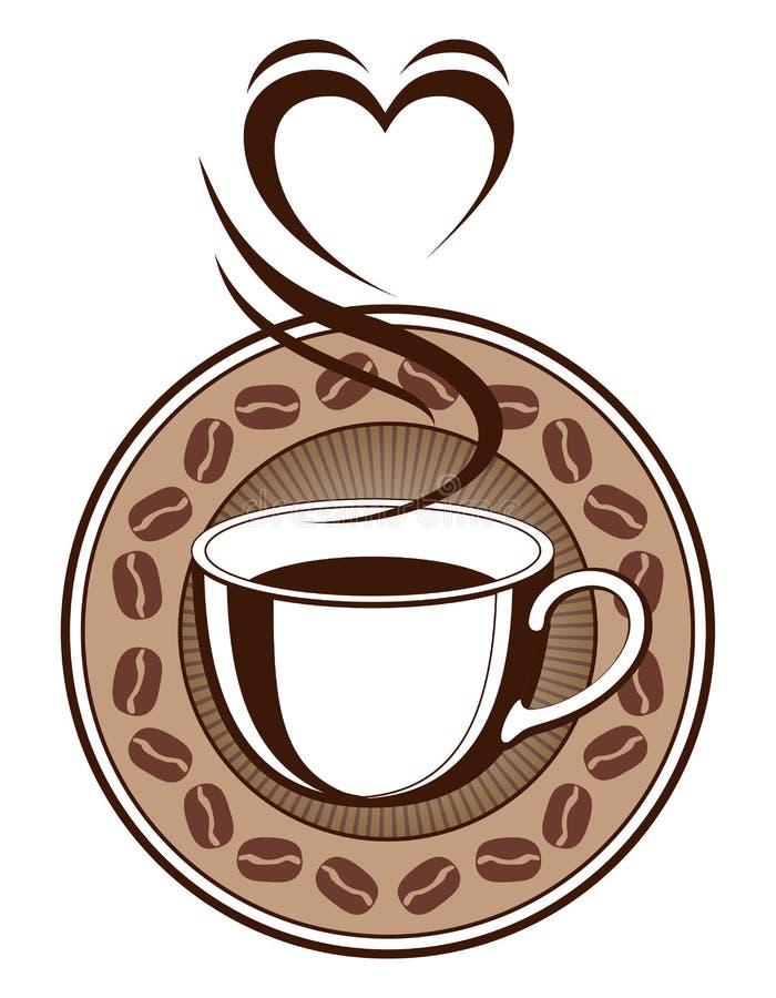 Kawowy projekt Z Parującym sercem royalty ilustracja