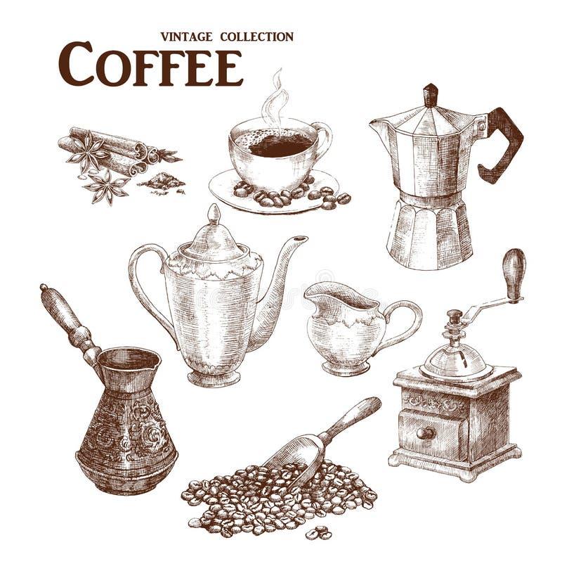 Kawowy ręka remisu set ilustracja wektor