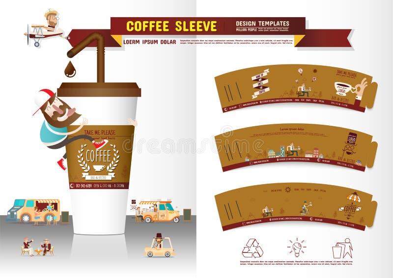 Kawowy rękawa projekta szablon royalty ilustracja