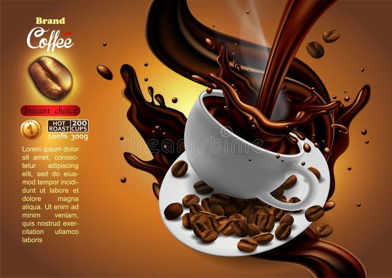 Kawowy reklama projekt z filiżanka kawy i pluśnięcia skutkiem, ilustracji