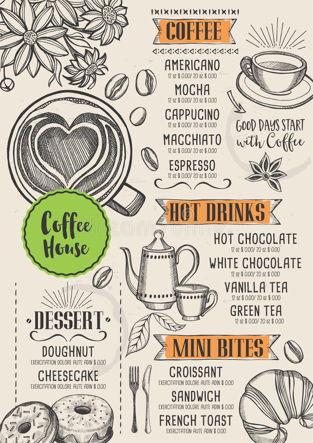 Kawowy restauracyjny cukierniany menu, szablonu projekt royalty ilustracja