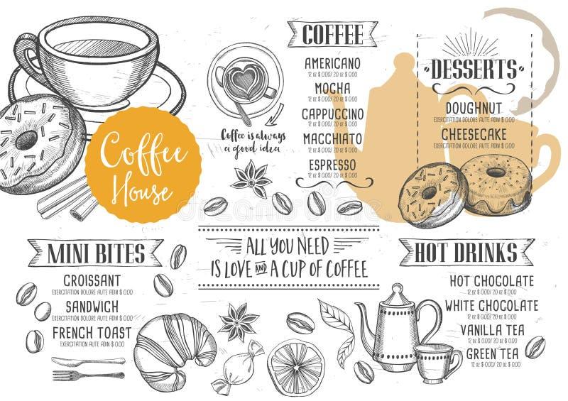 Kawowy restauracyjny cukierniany menu, szablonu projekt ilustracji