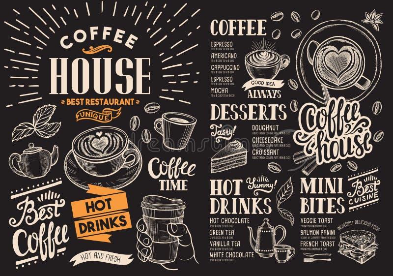 Kawowy restauracyjny menu na chalkboard Wektorowa napój ulotka dla baru royalty ilustracja