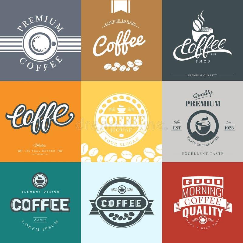 Kawowy rocznika logo ilustracja wektor