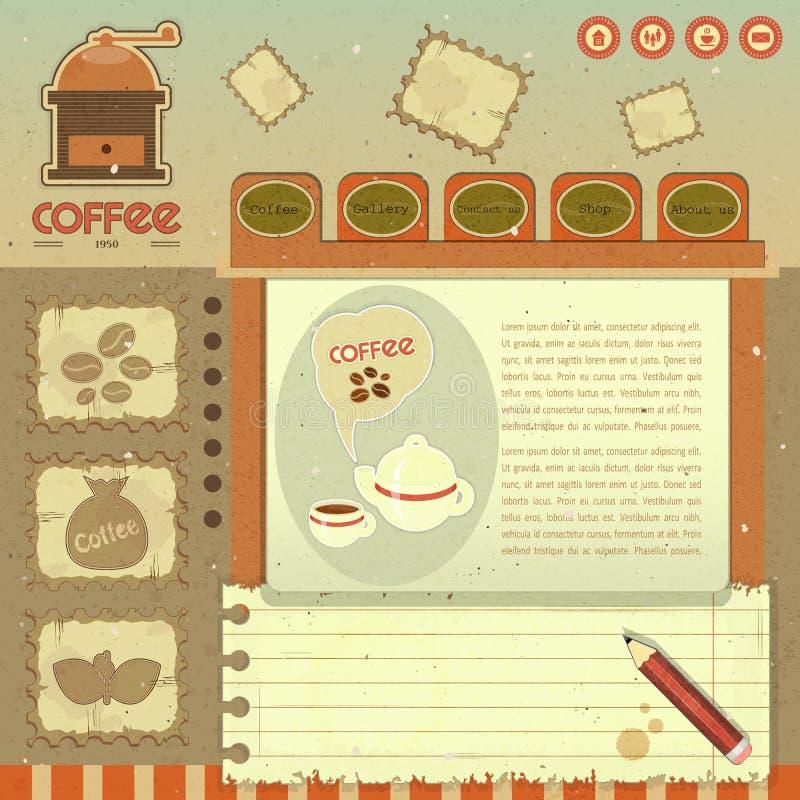 Kawowy Rocznika Sieci Projekt royalty ilustracja