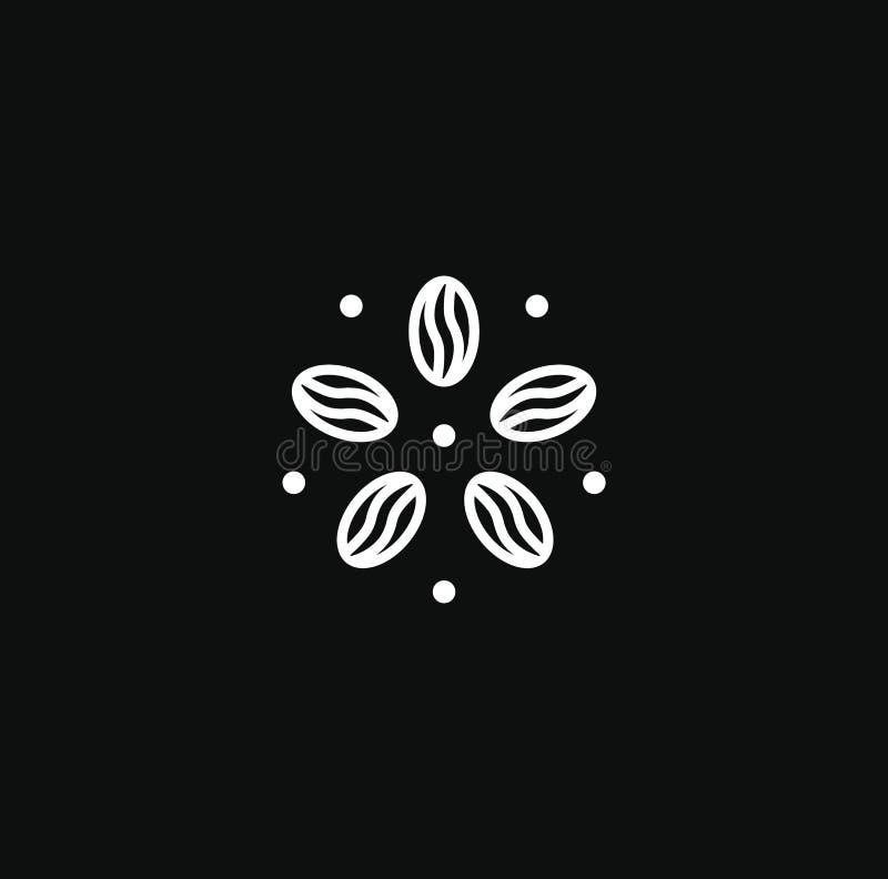 Kawowy round logo, nowożytny pojęcie Kawowej fasoli ikona Abstrakcjonistyczny kwiat, energetyczny napoju logo szablon Biały linio ilustracji