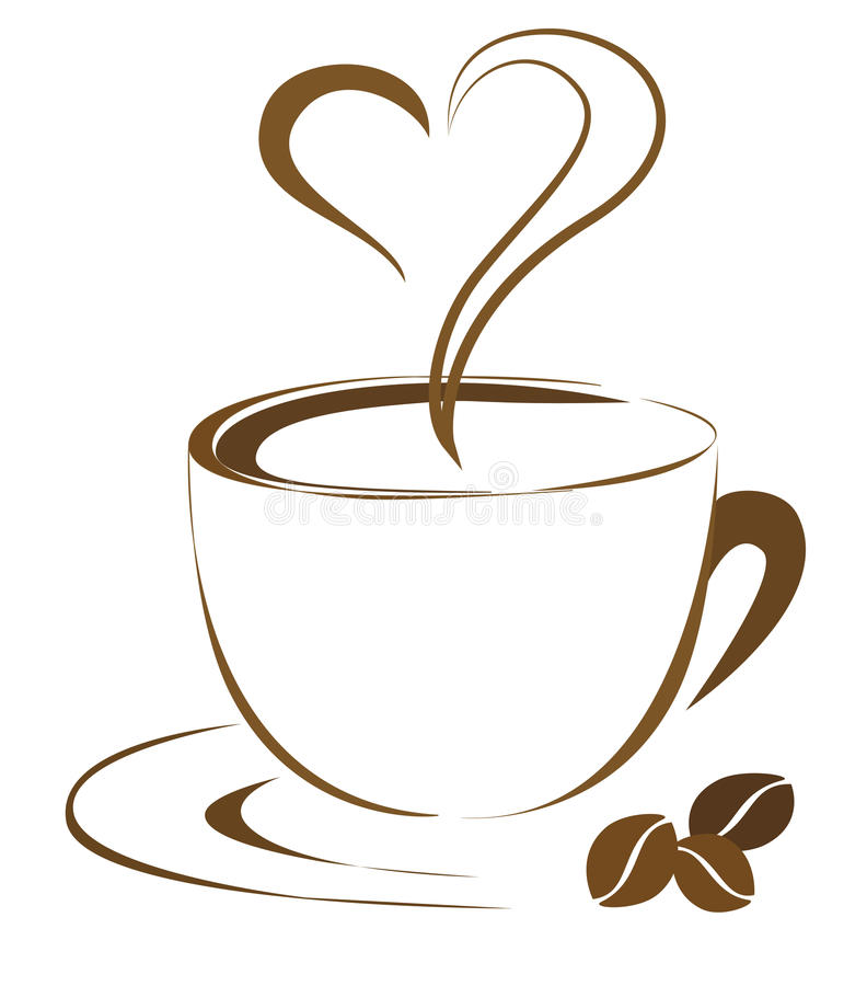Kawowy serce royalty ilustracja
