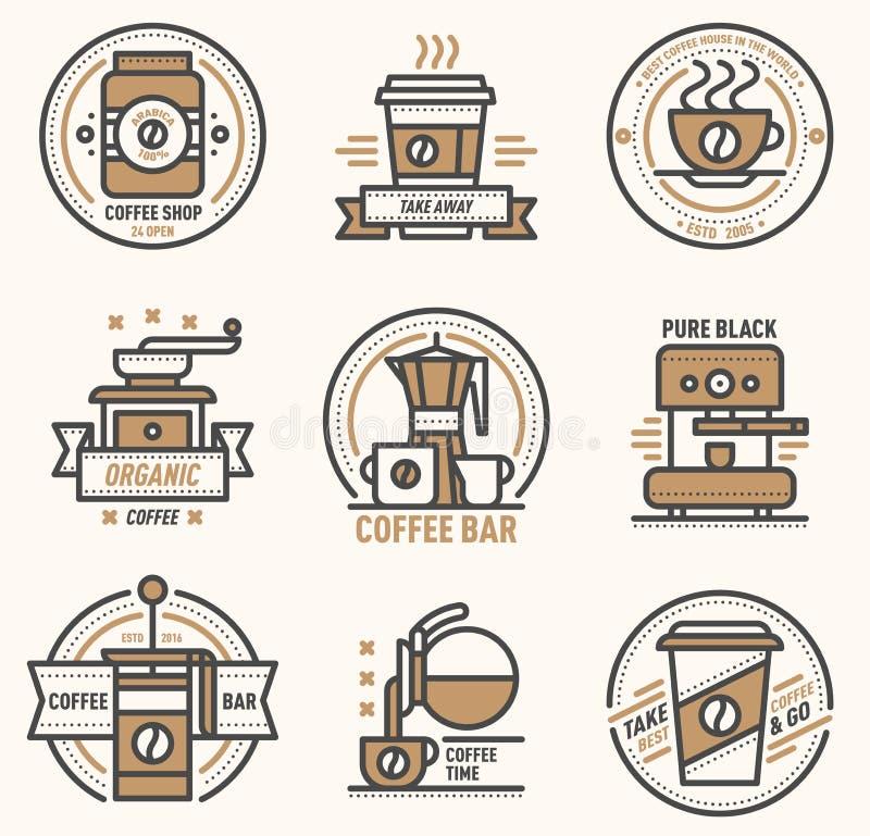 Kawowy wektorowy logo odznaki monograma projekta kawiarni znaka coffeeshop monogram i restauracja symbolu napoju retro karmowa ka royalty ilustracja