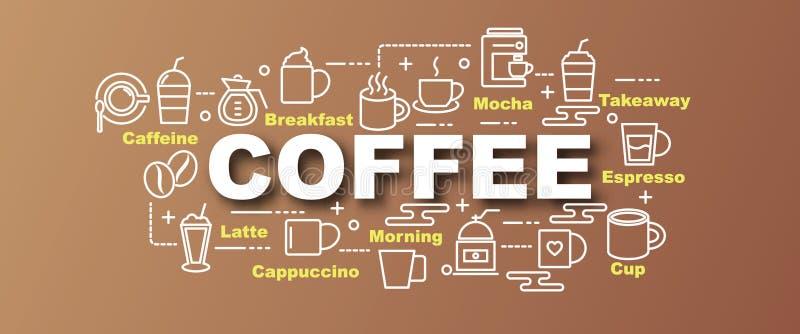 Kawowy wektorowy modny sztandar ilustracja wektor