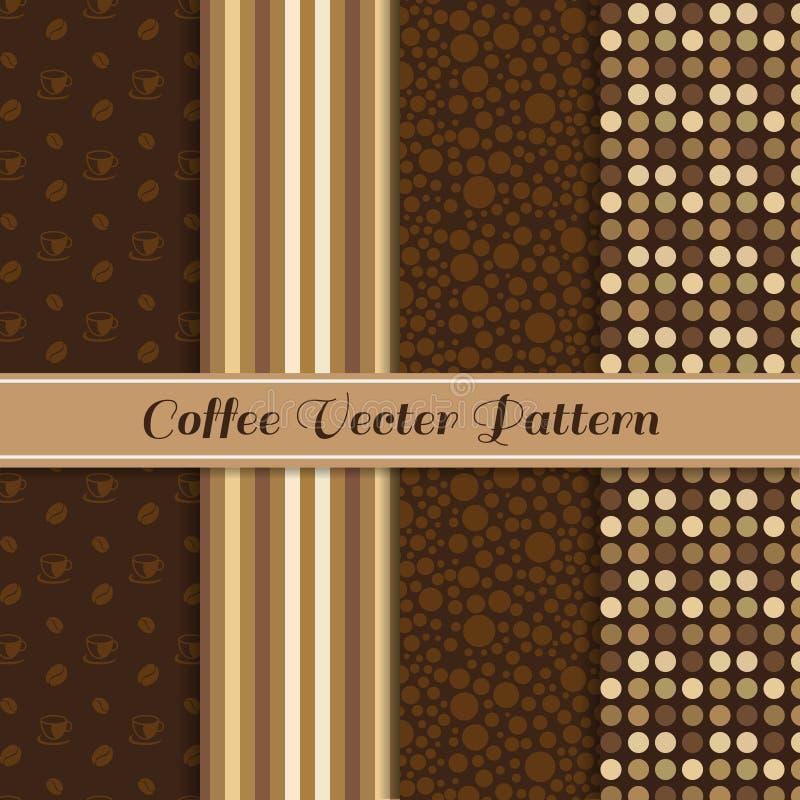 Kawowy wektoru wzór 4 stylowy (brown kawowy brzmienie) royalty ilustracja