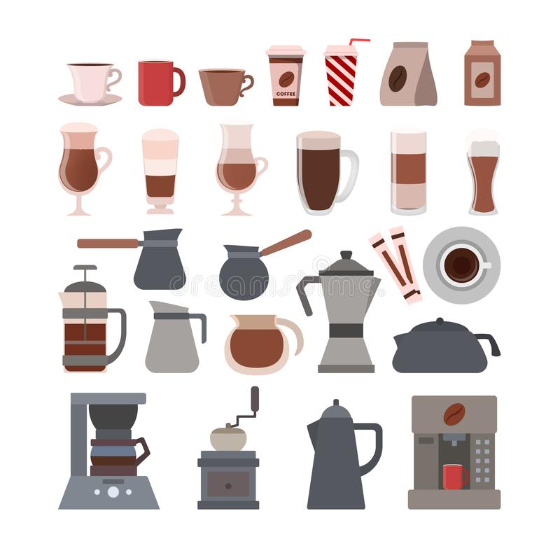 Kawowy wyposażenie set ilustracja wektor