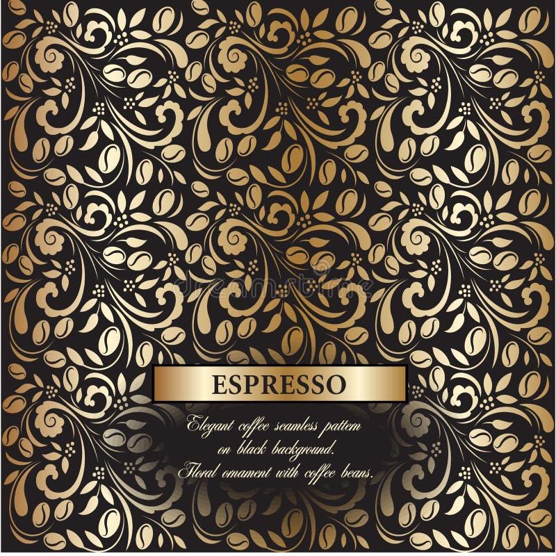 Kawowy złocisty bezszwowy wzór w Rosyjskim hohloma stylu royalty ilustracja