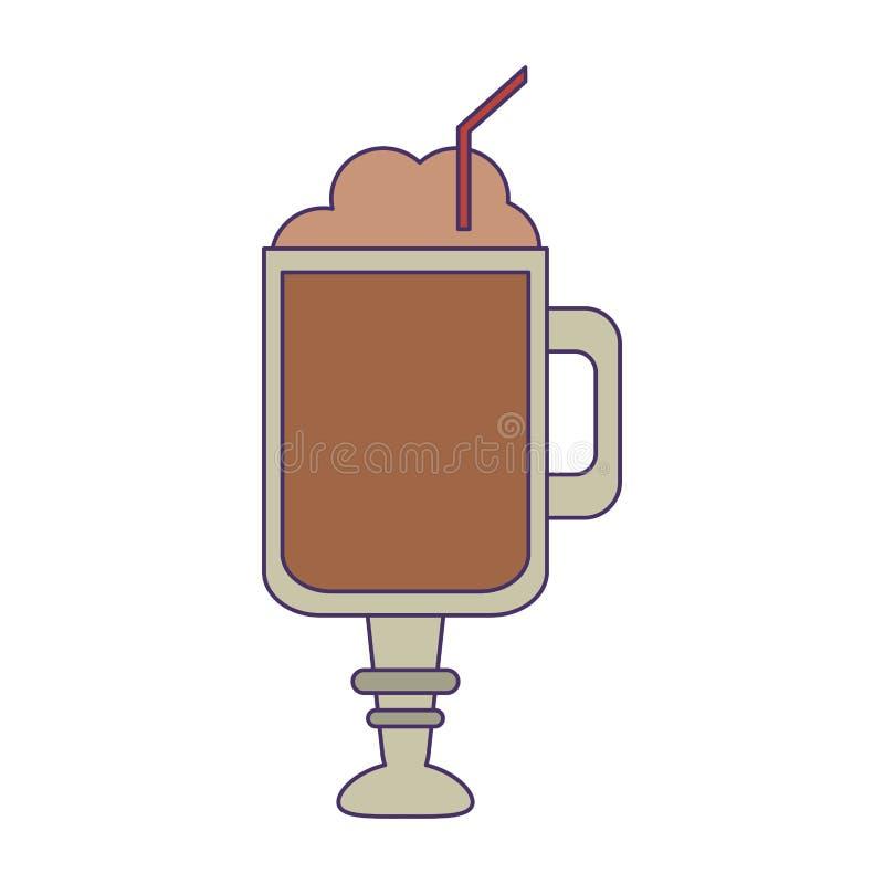 Kawowy zimny napój z słomianymi niebieskimi liniami ilustracji