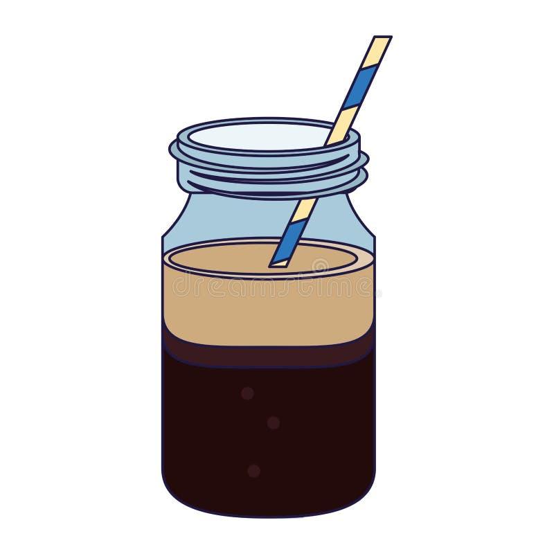 Kawowy zimny napoju kamieniarza słój royalty ilustracja