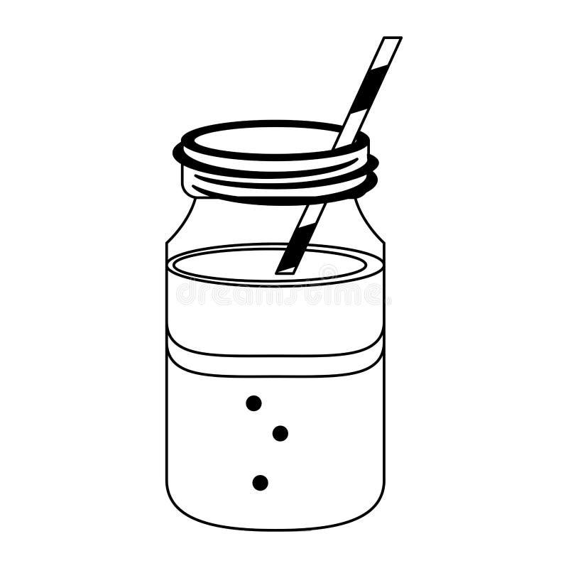 Kawowy zimny napoju kamieniarza słój w czarny i biały royalty ilustracja