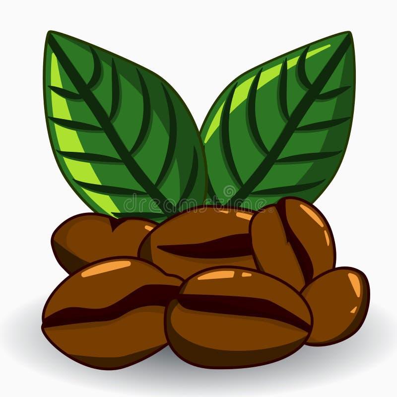 Kawowych fasoli i liści wektoru ilustracja ilustracja wektor