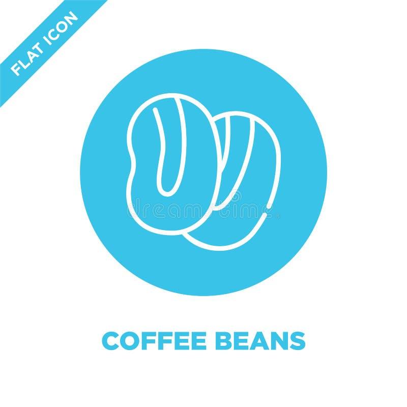 kawowych fasoli ikony wektor Cienkie kreskowe kawowe fasole zarysowywają ikona wektoru ilustrację kawowych fasoli symbol dla używ royalty ilustracja