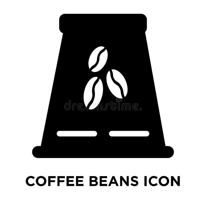 Kawowych fasoli ikony wektor odizolowywający na białym tle, logo conc ilustracji