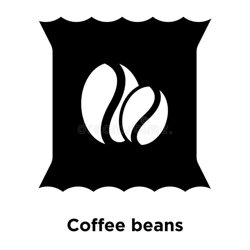 Kawowych fasoli ikony wektor odizolowywający na białym tle, logo conc royalty ilustracja