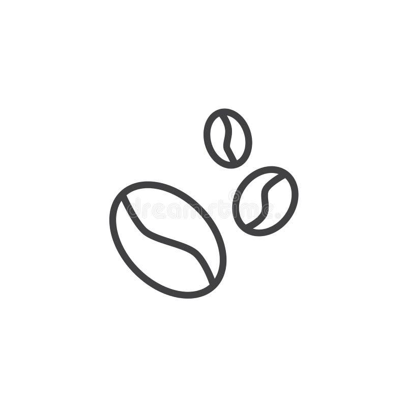 Kawowych fasoli kreskowa ikona ilustracja wektor