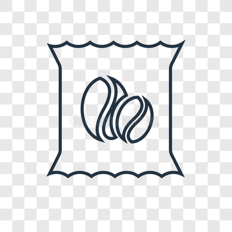Kawowych fasoli pojęcia wektorowa liniowa ikona odizolowywająca na przejrzystym ilustracja wektor