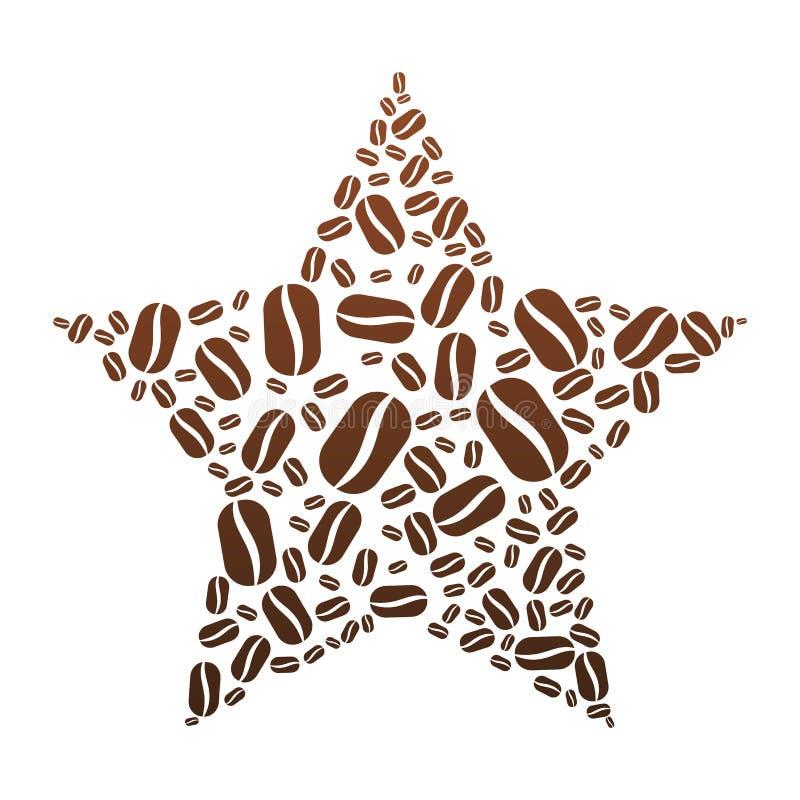 Kawowej fasoli gwiazda royalty ilustracja