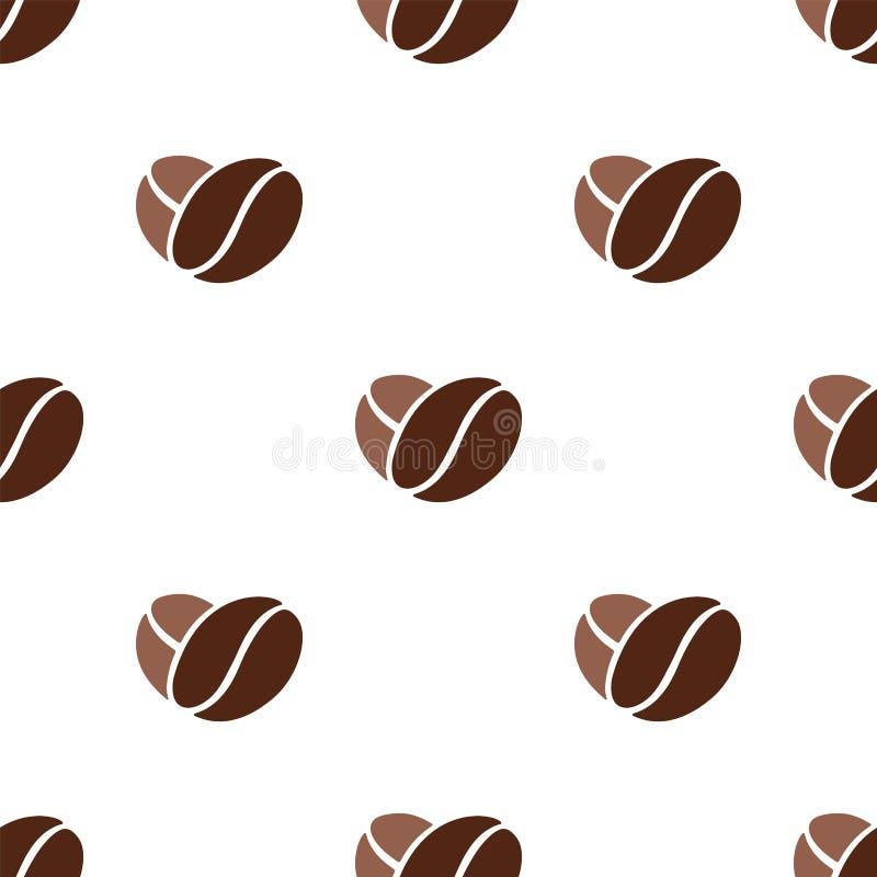 Kawowych fasoli serca wzór ilustracja wektor