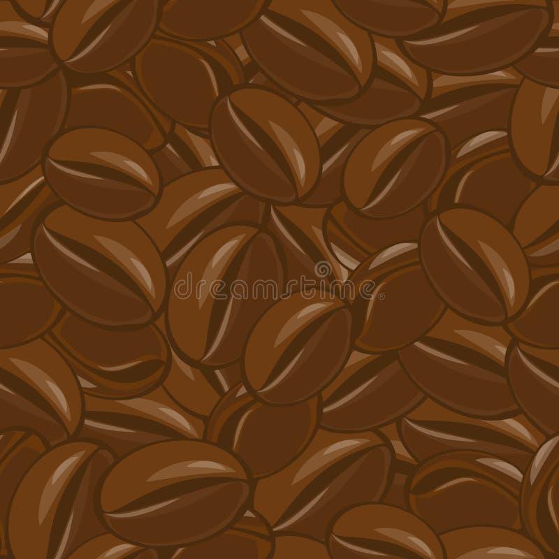 Kawowych fasoli wzór ilustracja wektor