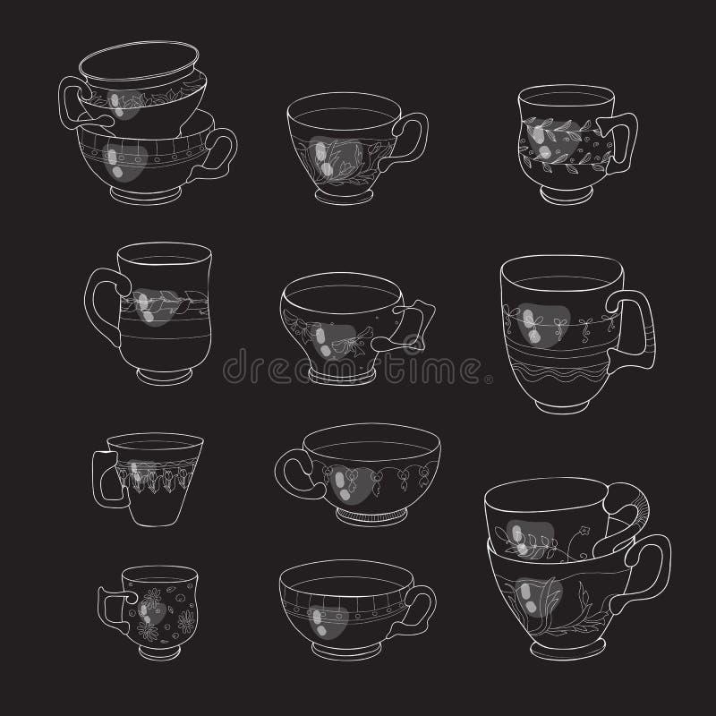 Kawowych i herbacianych filiżanek ikona Wektorowa kolekcja ilustracja wektor
