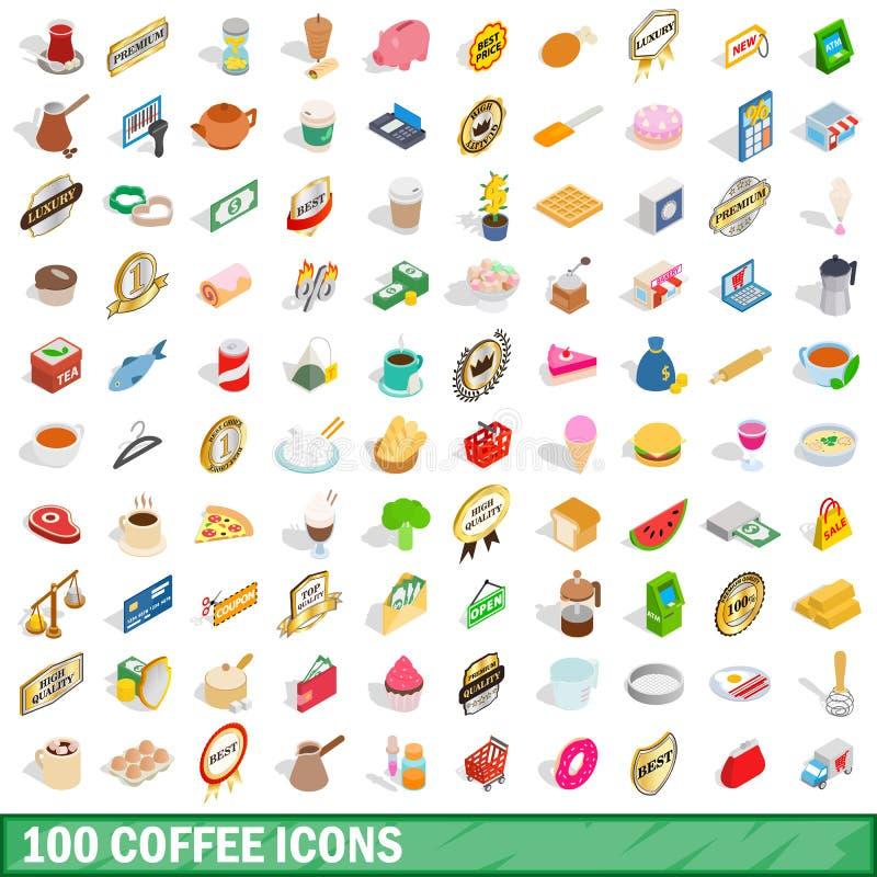 100 kawowych ikon ustawiających, isometric 3d styl royalty ilustracja