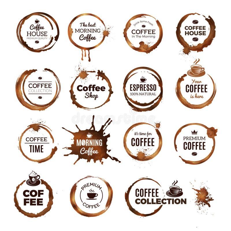 Kawowych pierścionków odznaki Etykietki z brudnymi okręgami od herbaty lub filiżanki logo restauracyjnego szablonu royalty ilustracja