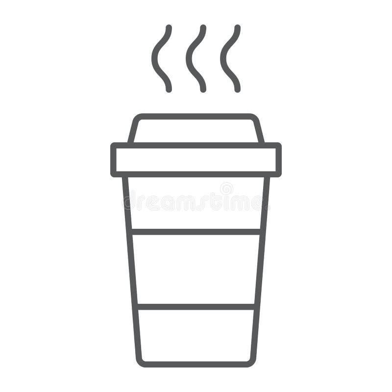 Kawy cienka kreskowa ikona, kofeina i napój, rozporządzalny filiżanka znak, wektorowe grafika, liniowy wzór na białym tle ilustracji
