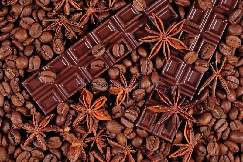 Kawy, czekoladowego i gwiazdowego anyż, obraz stock