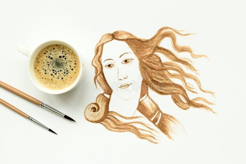 Kawy espresso fili?anka z r?ka rysunku narodziny Wenus Minimalna, kawowa sztuka, lub kreatywnie poj?cie Odg?rny widok zdjęcia royalty free
