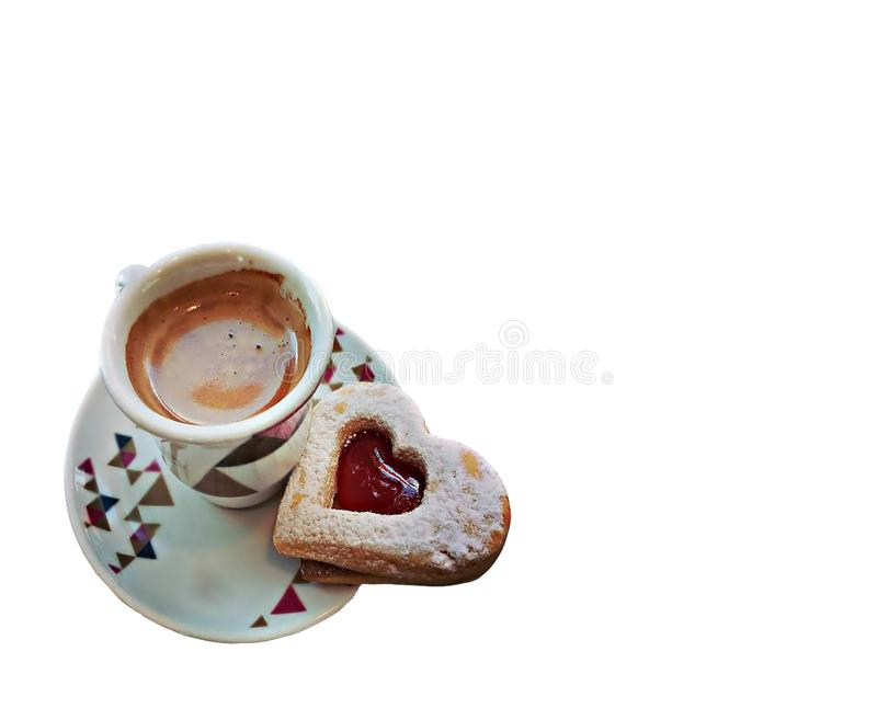 Kawy espresso kawa i ciastko w kierowym kształcie dla walentynki fotografia stock