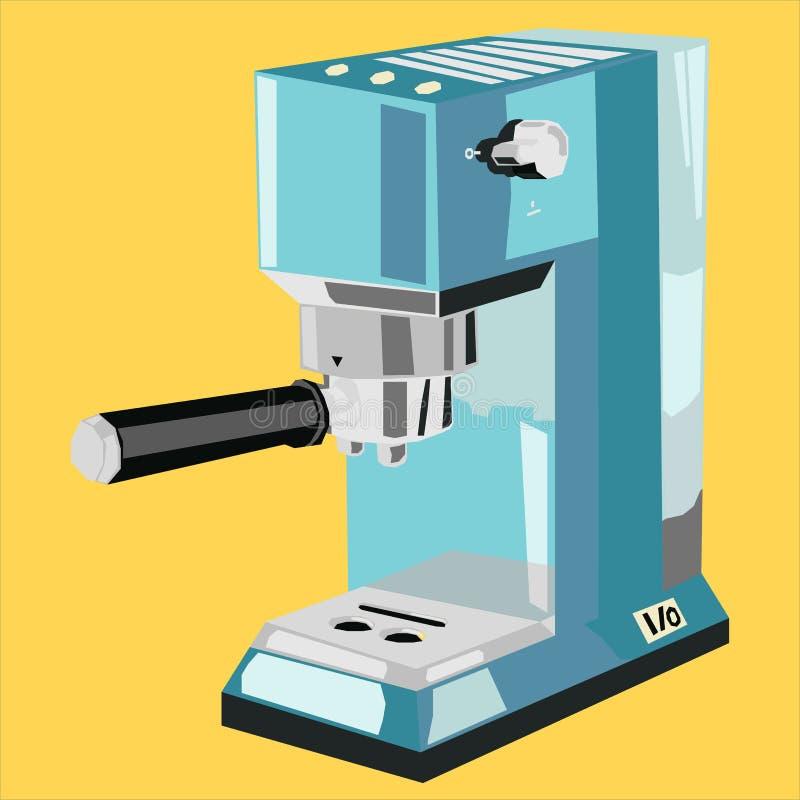 Kawy espresso maszyny logo ikony mieszkanie royalty ilustracja